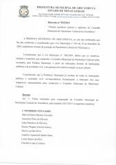 DECRETO N.09-2015 NOMEIA MEMBROS EFETIVOS E SUPLENTES DO CONSELHO MJNICIPAL DO PATRIMONIO CULTURAL.pdf