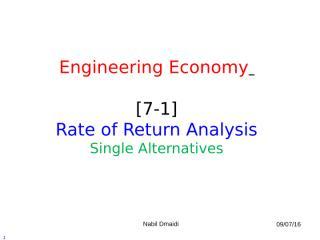 [7-1] Rate of Return Analysis - Single Alternative.ppt