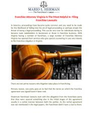 Franchise Attorney Virginia Is The Most Helpful In  Filing Franchise Lawsuits.docx